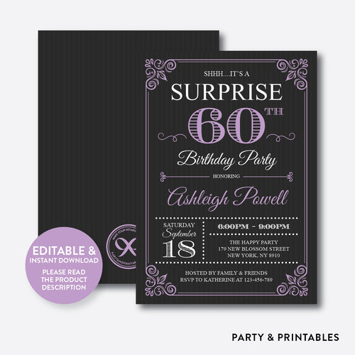 Adult Surprise Birthday Invitation / Editable / Instant Download (SAB.10)