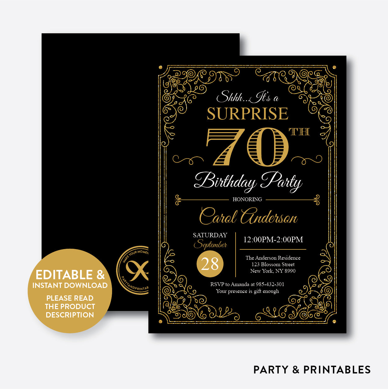 Adult Birthday Invitation / Editable / Instant Download (SAB.11), invitation - Party and Printables