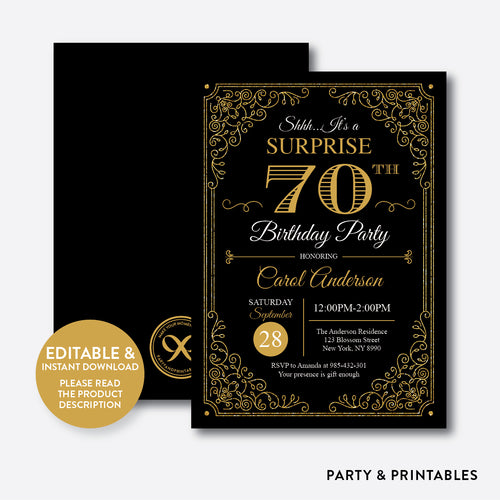 Adult Birthday Invitation / Editable / Instant Download (SAB.11)