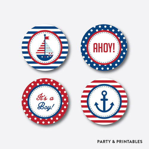 Nautical Cupcake Toppers / Non-Personalized / Instant Download (SBS.01)