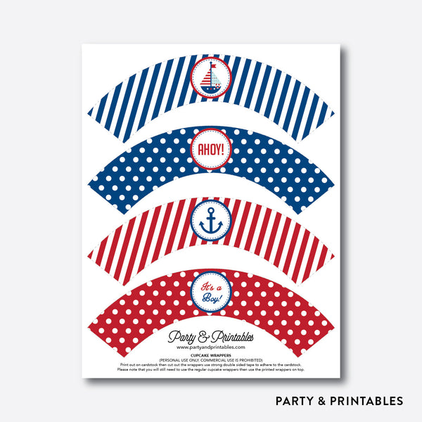 Nautical Cupcake Wrappers / Non-Personalized / Instant Download (SBS.01), party printables - Party and Printables