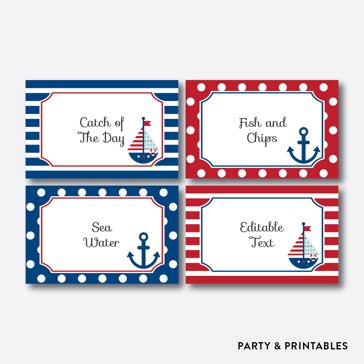 Nautical Food Labels / Editable / Instant Download (SBS.01), party printables - Party and Printables