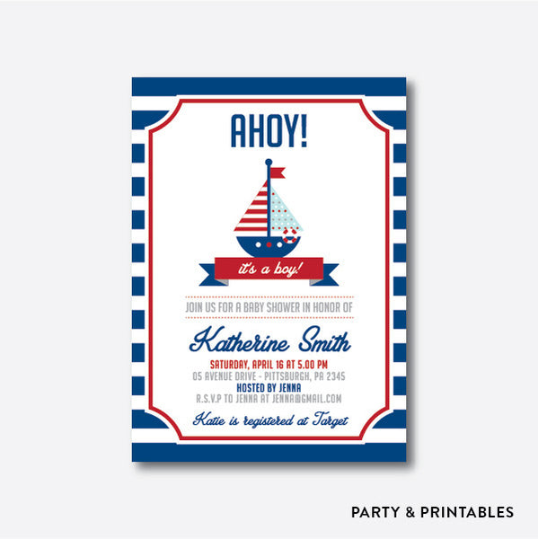 Nautrical Baby Shower Invitation / Personalized (SBS.01)