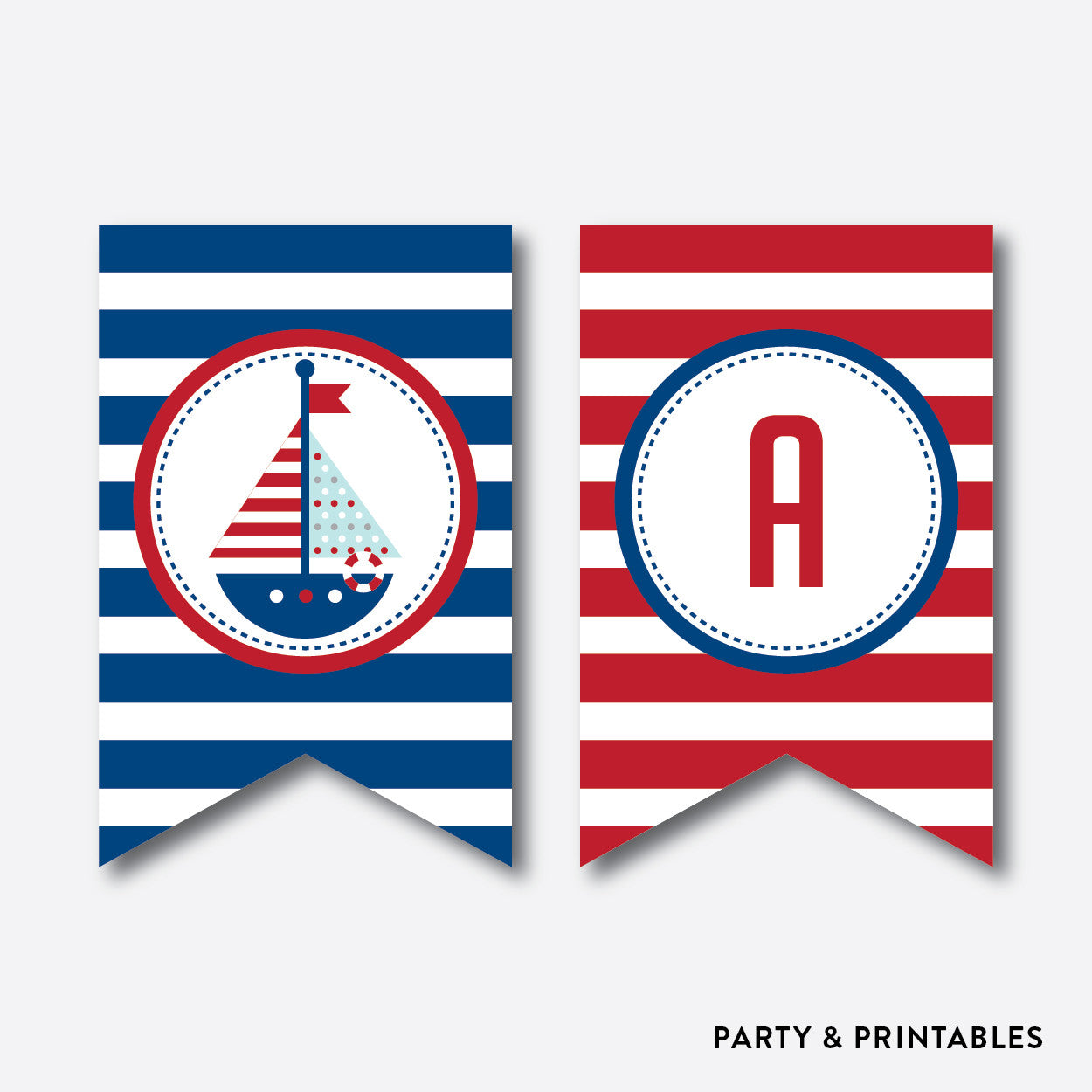 Nautical Party Banner / Baby Shower Banner / Non-Personalized / Instant Download (SBS.01)