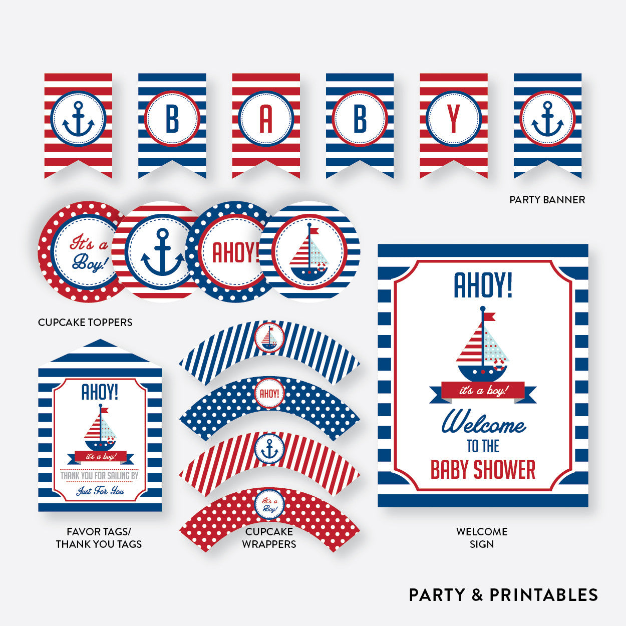 Nautical Standard Baby Shower Party Package / Non-Personalized / Instant Download (SBS.01), party package - Party and Printables