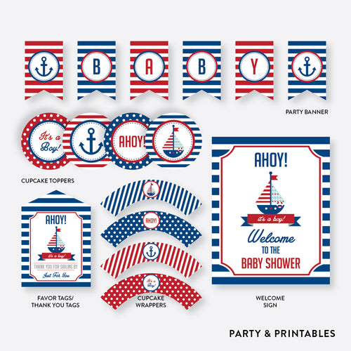 Nautical Standard Baby Shower Party Package / Non-Personalized / Instant Download (SBS.01)