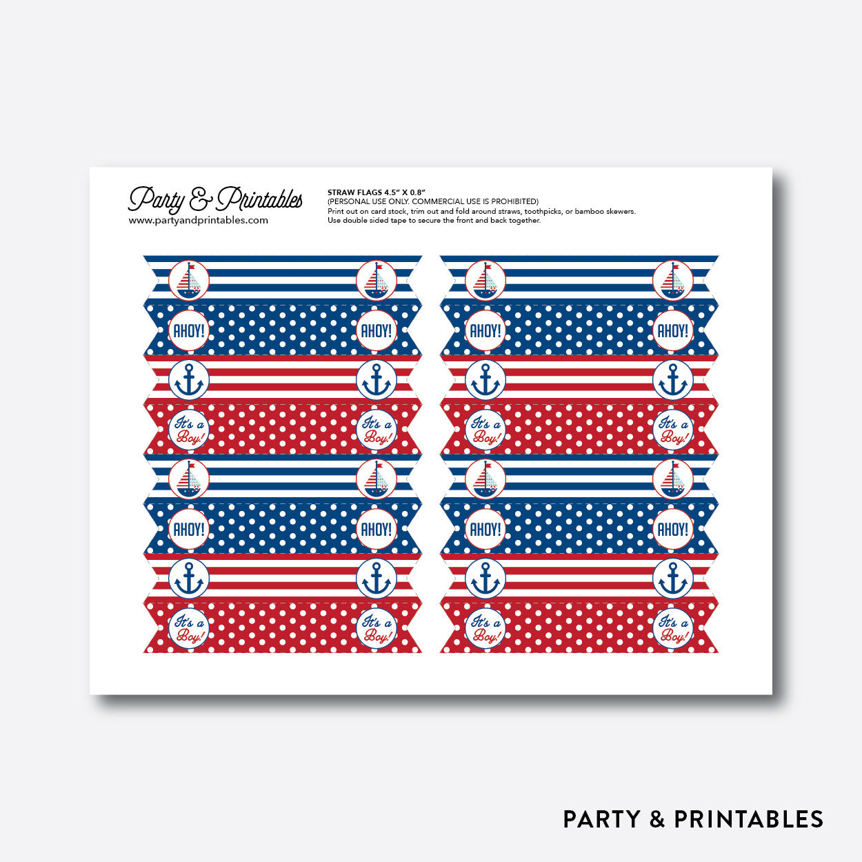 Nautical Straw Flags / Non-Personalized / Instant Download (SBS.01), party printables - Party and Printables