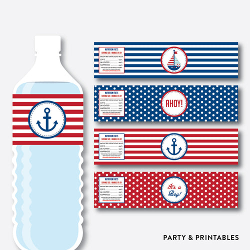 Nautical Water Bottle Labels / Non-Personalized / Instant Download (SBS.01)