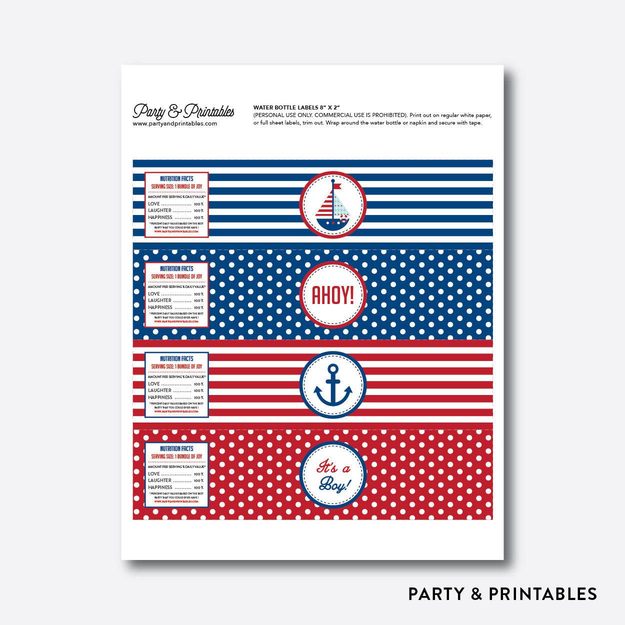 Nautical Water Bottle Labels / Non-Personalized / Instant Download (SBS.01), party printables - Party and Printables