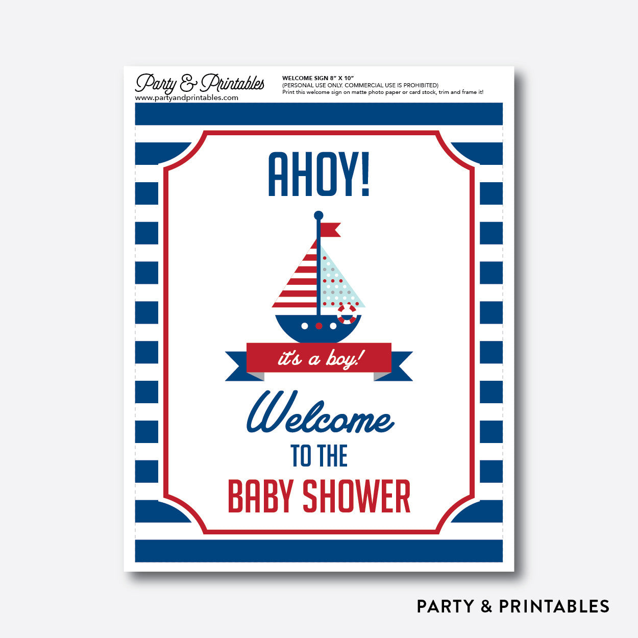 Nautical Welcome Sign / Non-Personalized / Instant Download (SBS.01), party printables - Party and Printables