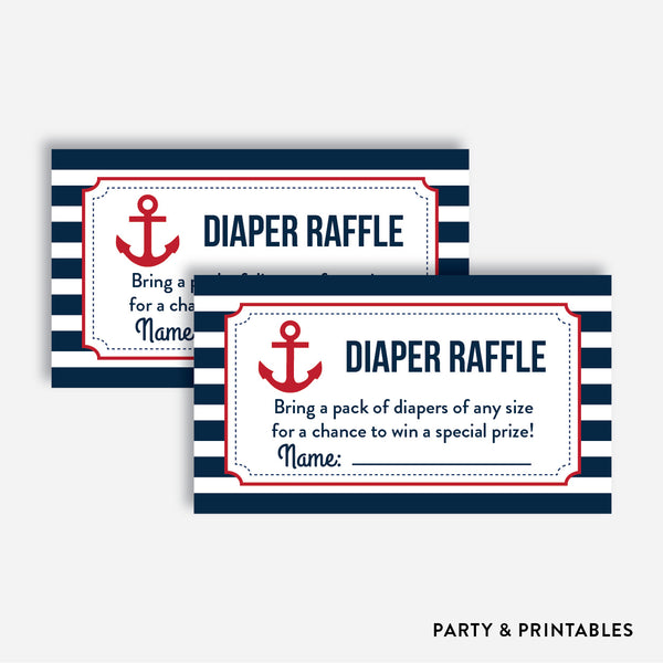Nautical Diaper Raffle / Non-Personalized / Instant Download (SBS.02)