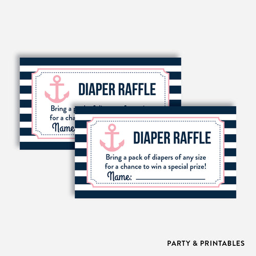 Nautical Diaper Raffle / Non-Personalized / Instant Download (SBS.03)
