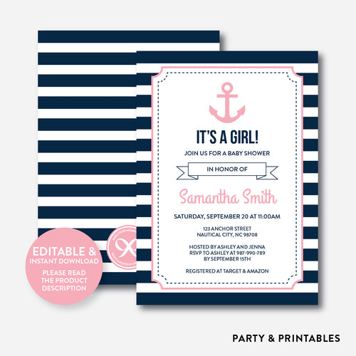 Nautical Baby Shower Invitation / Editable / Instant Download (SBS.03)