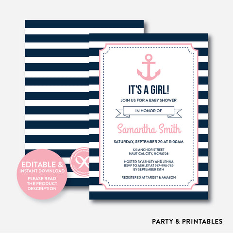 Pink Giraffe Baby Shower Invitation / Editable / Instant Download (SBS.03)