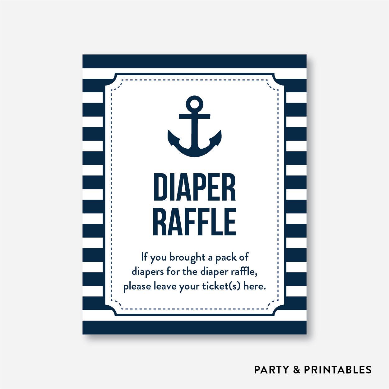Nautical Diaper Raffle / Non-Personalized / Instant Download (SBS.04)
