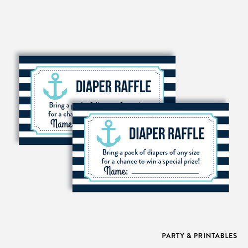 Nautical Diaper Raffle / Non-Personalized / Instant Download (SBS.05)
