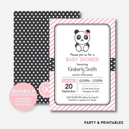 Panda Baby Shower Invitation / Editable / Instant Download (SBS.06)