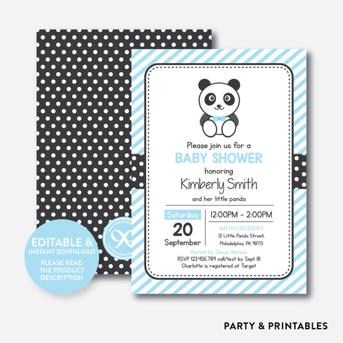 Panda Baby Shower Invitation / Editable / Instant Download (SBS.07)