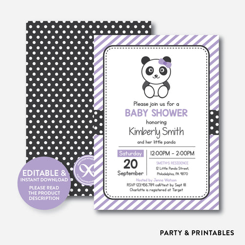 Panda Baby Shower Invitation / Editable / Instant Download (SBS.08)