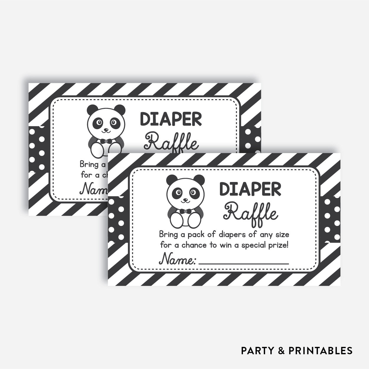 Panda Diaper Raffle / Non-Personalized / Instant Download (SBS.09)