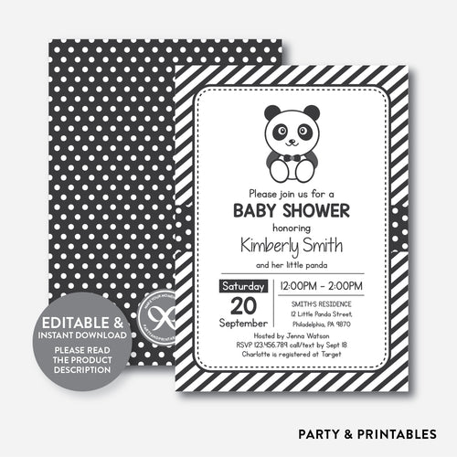 Panda Baby Shower Invitation / Editable / Instant Download (SBS.09)