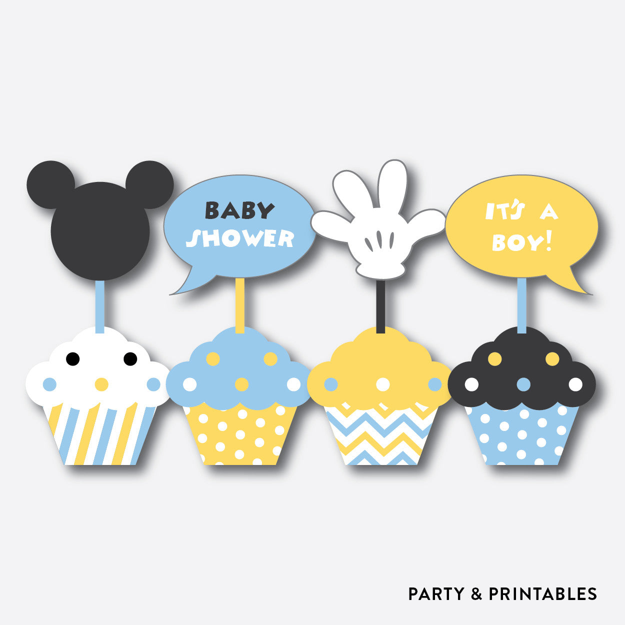 Baby Mickey Cupcake Toppers / Non-Personalized / Instant Download (SBS.21), party printables - Party and Printables