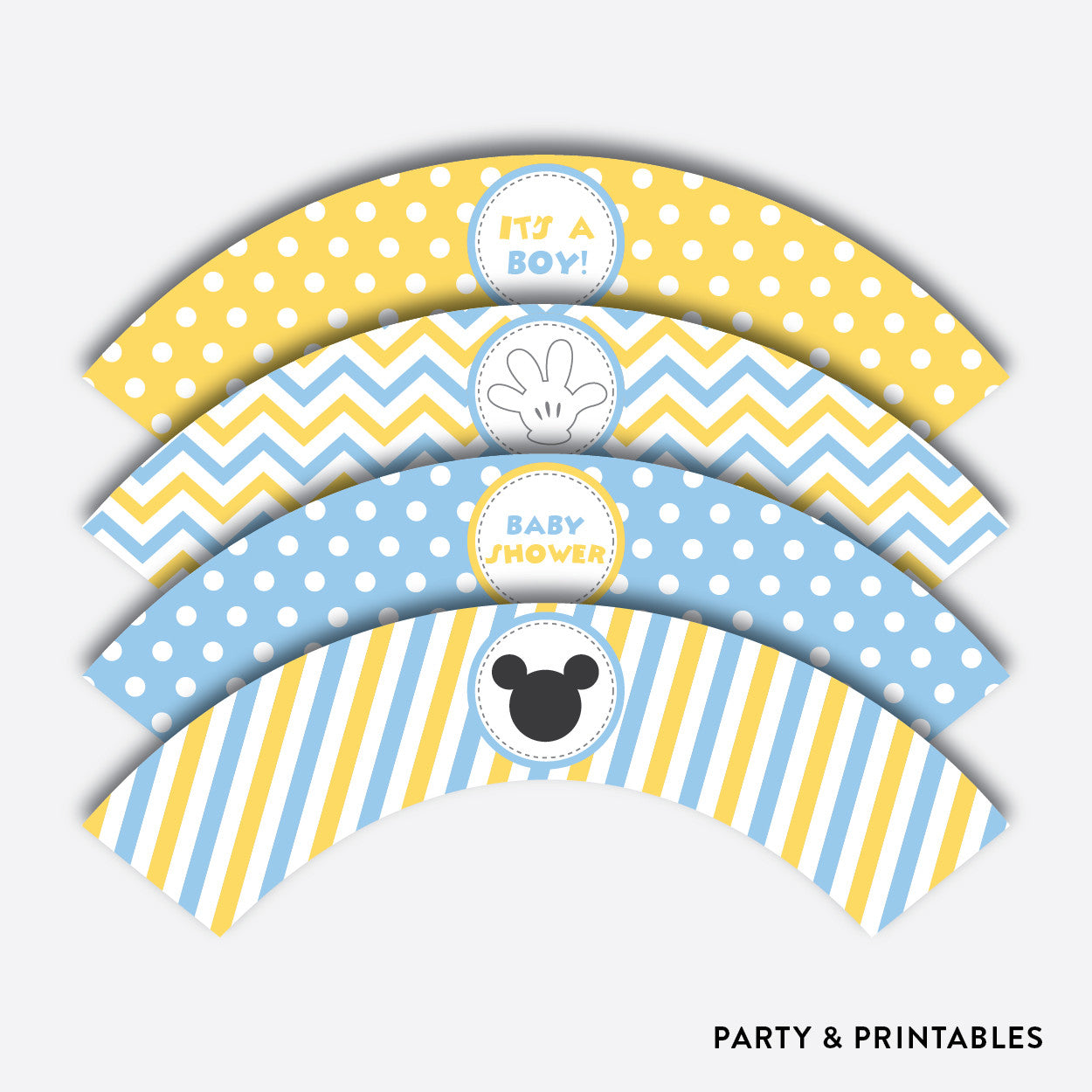 Baby Mickey Cupcake Wrappers / Non-Personalized / Instant Download (SBS.21), party printables - Party and Printables