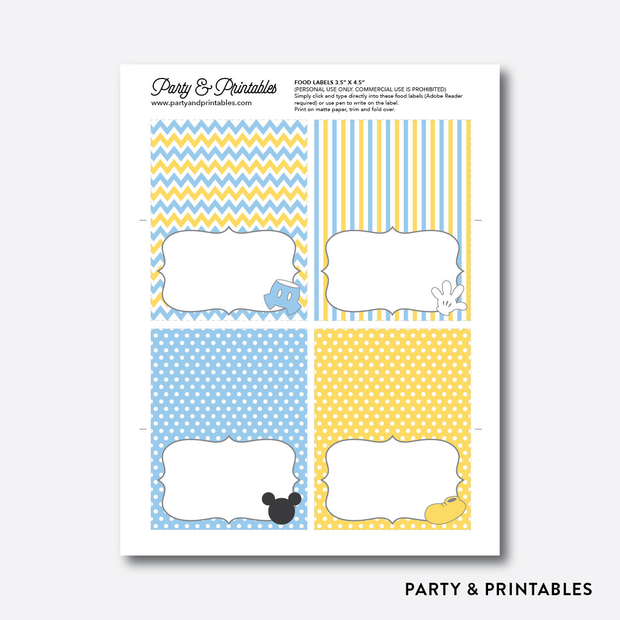 Baby Mickey Food Labels / Editable / Instant Download (SBS.21), party printables - Party and Printables