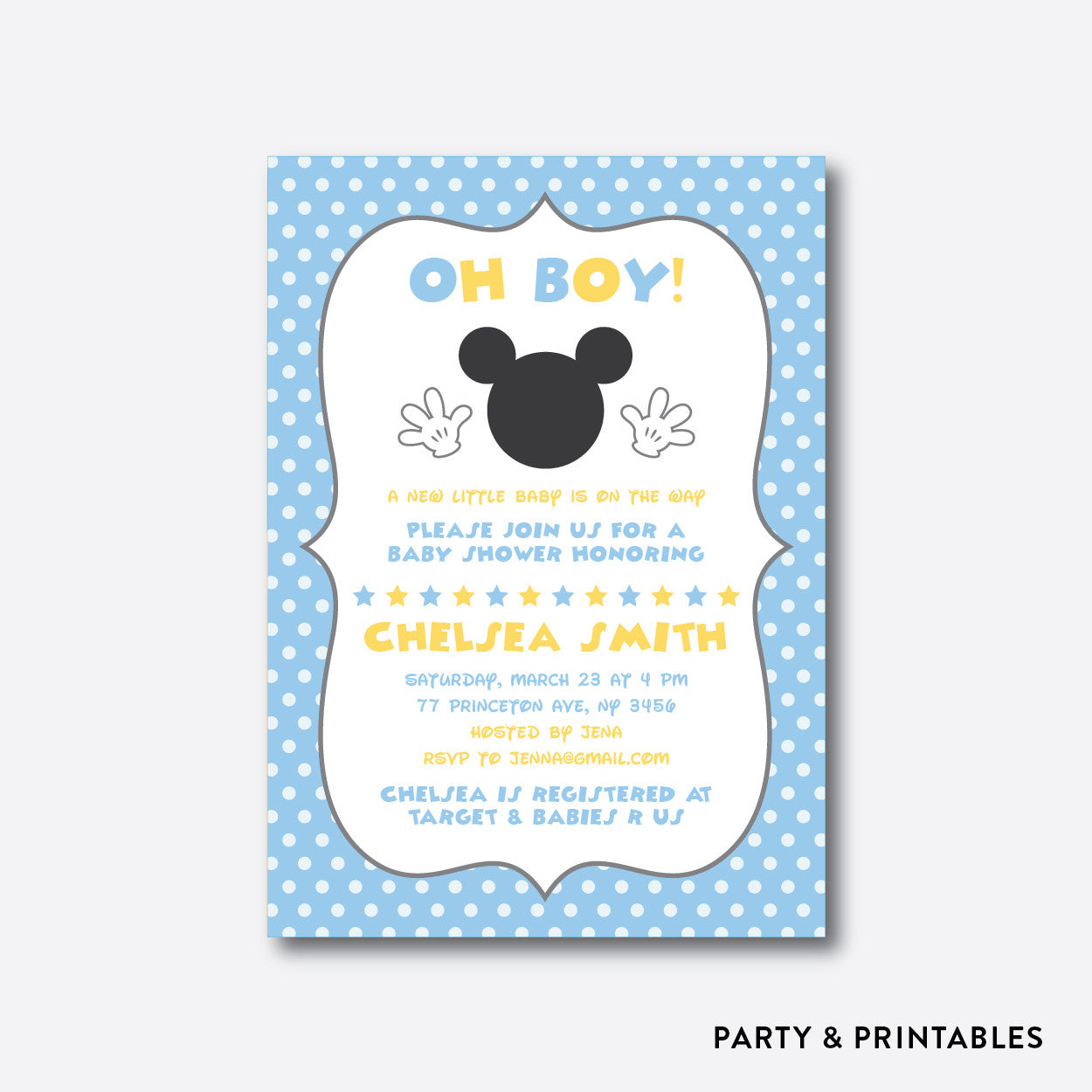 Baby Mickey Baby Shower Invitation / Personalized (SBS.21), invitation - Party and Printables