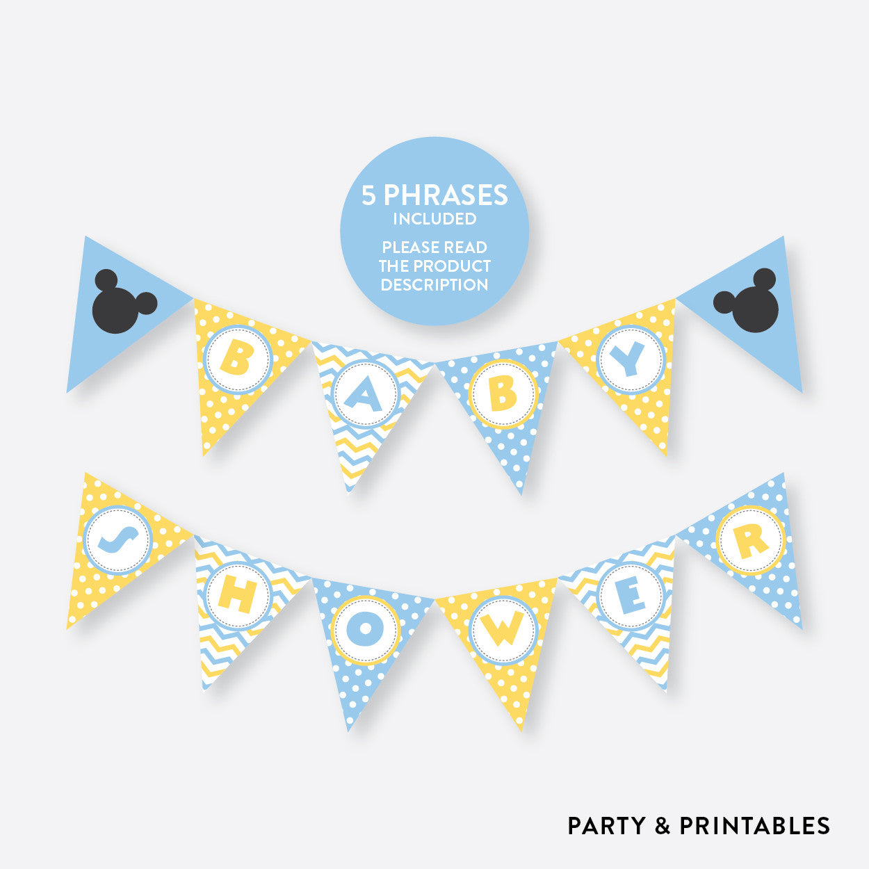 Baby Mickey Party Banner / Baby Shower Banner / Non-Personalized / Instant Download (SBS.21), party printables - Party and Printables