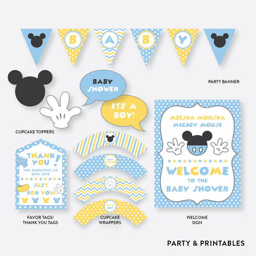 Baby Mickey Standard Baby Shower Party Package / Non-Personalized / Instant Download (SBS.21)