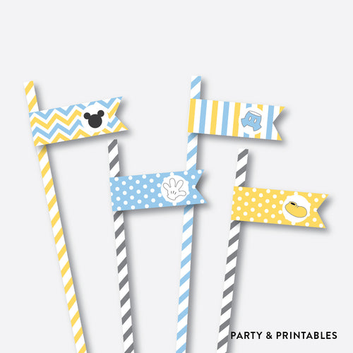 Baby Mickey Straw Flags / Non-Personalized / Instant Download (SBS.21)