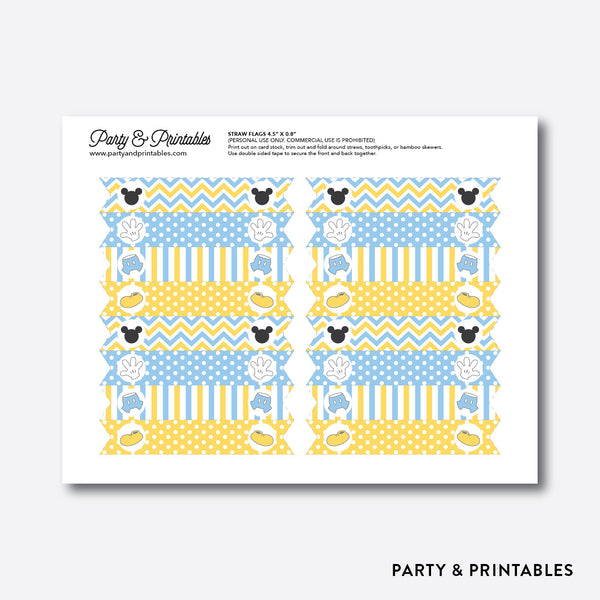 Baby Mickey Straw Flags / Non-Personalized / Instant Download (SBS.21), party printables - Party and Printables