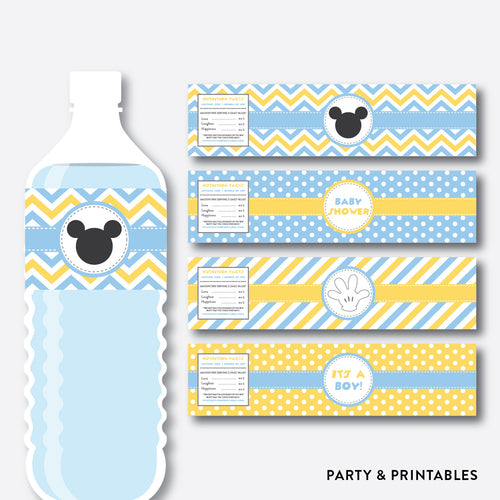 Baby Mickey Water Bottle Labels / Non-Personalized / Instant Download (SBS.21)
