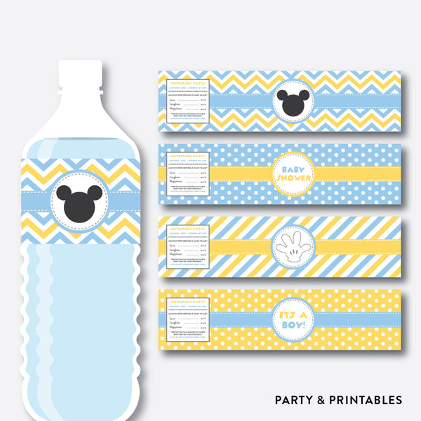 Baby Mickey Water Bottle Labels / Non-Personalized / Instant Download (SBS.21), party printables - Party and Printables