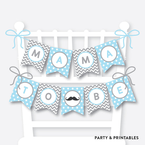 Mustache Chair Banner / Baby Shower Banner / Non-Personalized / Instant Download (SBS.22)