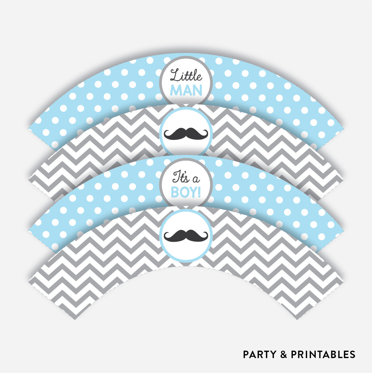 Mustache Cupcake Wrappers / Non-Personalized / Instant Download (SBS.22)