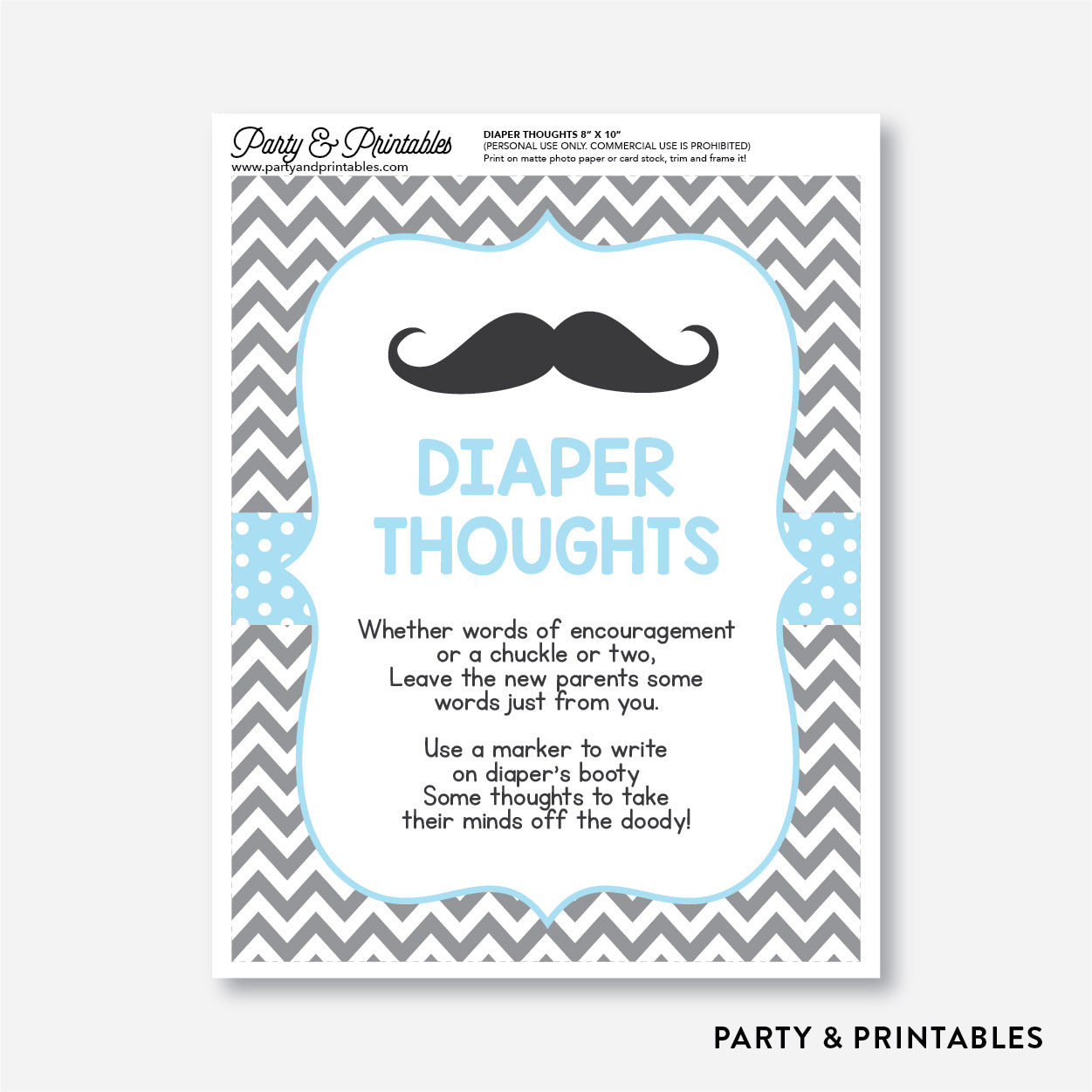 Mustache Diaper Thoughts / Non-Personalized / Instant Download (SBS.22)