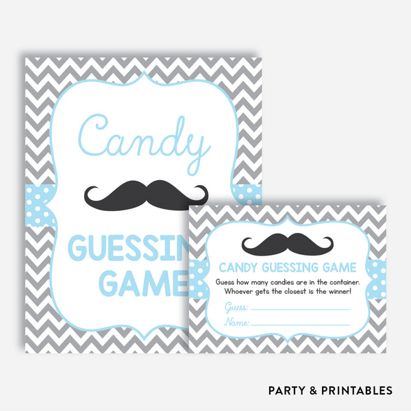 Mustache Guess How Many Candies / Non-Personalized / Instant Download (SBS.22)