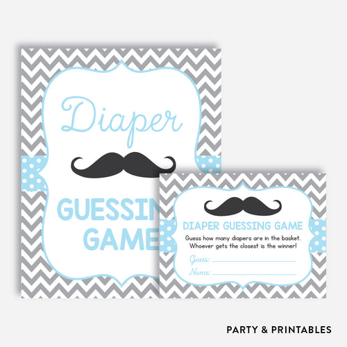 Mustache Guess How Many Diapers / Non-Personalized / Instant Download (SBS.22)