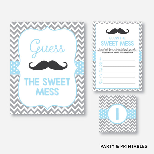 Mustache Guess The Sweet Mess / Non-Personalized / Instant Download (SBS.22)