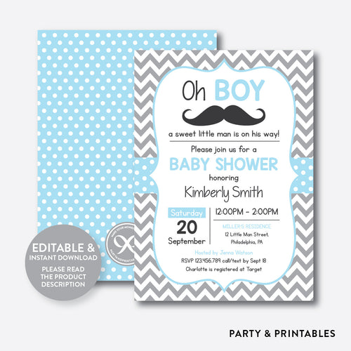 Mustache Baby Shower Invitation / Editable / Instant Download (SBS.22)