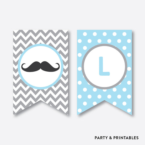 Mustache Party Banner / Baby Shower Banner / Non-Personalized / Instant Download (SBS.22)