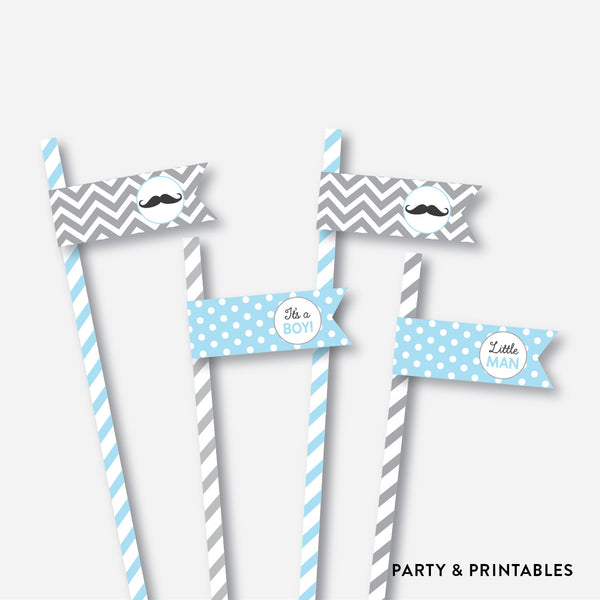 Mustache Straw Flags / Non-Personalized / Instant Download (SBS.22)