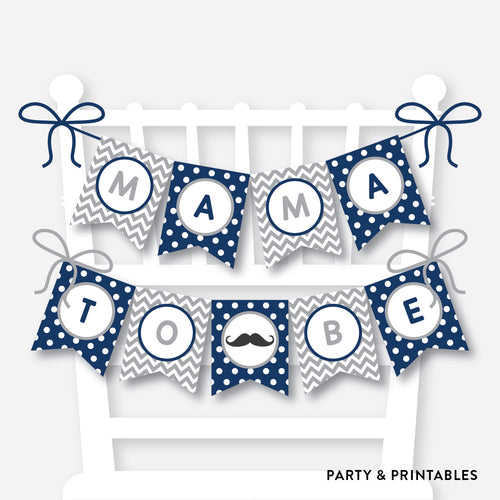 Mustache Chair Banner / Baby Shower Banner / Non-Personalized / Instant Download (SBS.23)