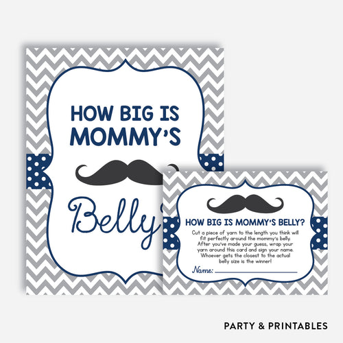 Mustache How Big is Mommy Belly / Non-Personalized / Instant Download (SBS.23)