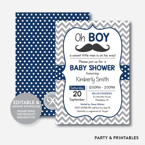 Mustache Baby Shower Invitation / Editable / Instant Download (SBS.23)