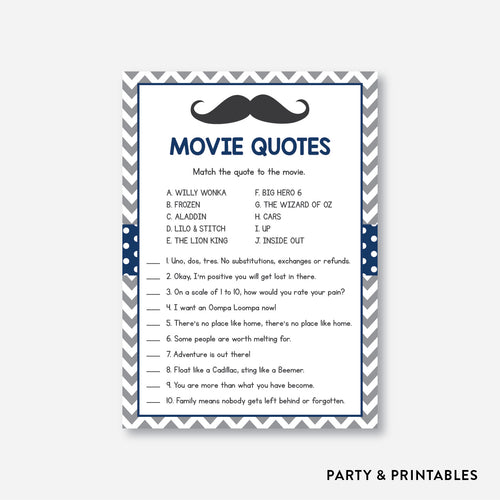 Mustache Movie Quotes / Non-Personalized / Instant Download (SBS.23)