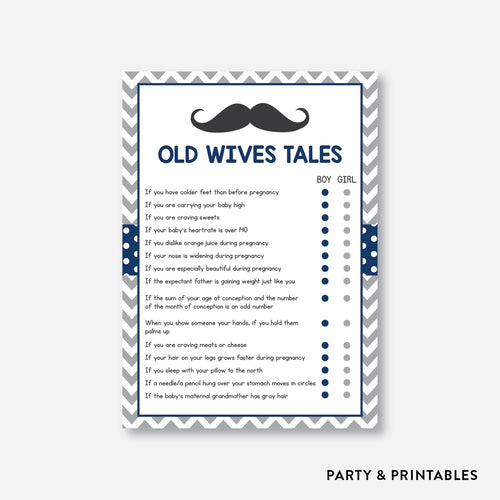 Mustache Old Wives Tales / Non-Personalized / Instant Download (SBS.23)