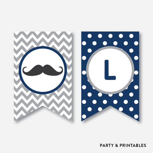 Mustache Party Banner / Baby Shower Banner / Non-Personalized / Instant Download (SBS.23)